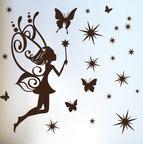 One Fairy with Magic Wand, Butterflies and Stars
