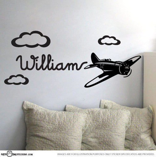 Boys Custom Name & Cute Retro Plane