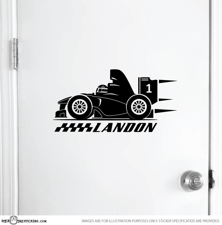 F1 Racing Car and Name Sticker