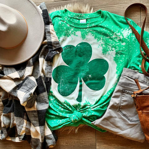Shamrock Bleached Tee-Adult & Youth