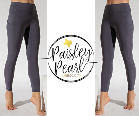 Tate Leggings w/side pocket-Charcoal-PREORDER