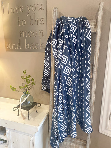 Cozy Up Blanket- Navy Tribal