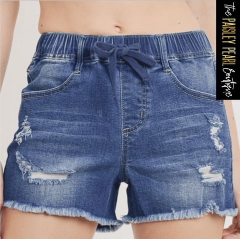 Summertime Fun Shorts-DENIM