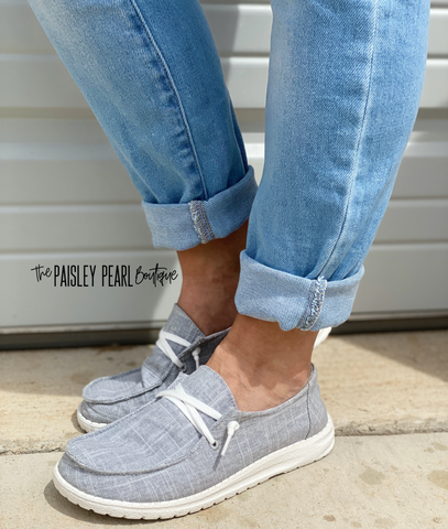Holly Canvas Boat Shoes-Grey