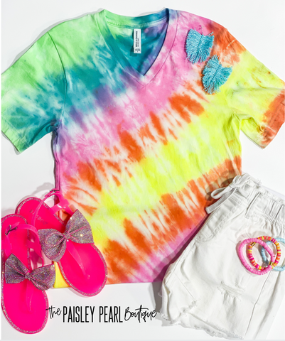 Hand Dyed Tie-Dye V-neck Tee