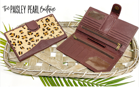 Genuine Leather & Hide Travel Wallet-Leopard