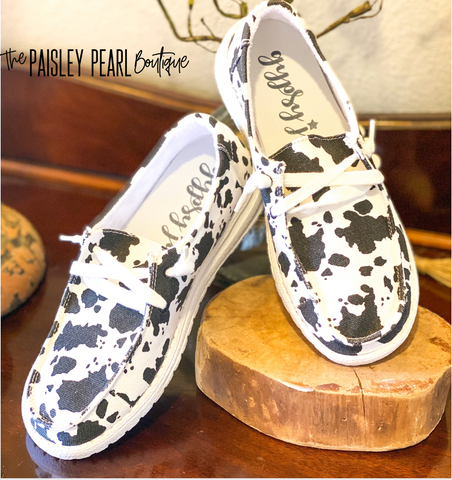 Holly Canvas Boat Shoes-Cow Print