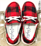 Holly Boat Shoes-Black & Red Buffalo Plaid