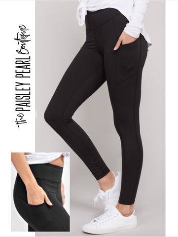 Tate Leggings w/side pocket-Black-PREORDER