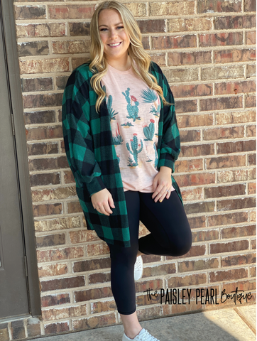Roxy Plaid Cardigan