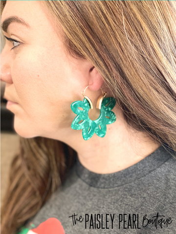 Kelly Green Acrylic Earrings