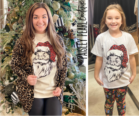 Black Friday STEAL-Leopard Santa Tee (kids & adult)