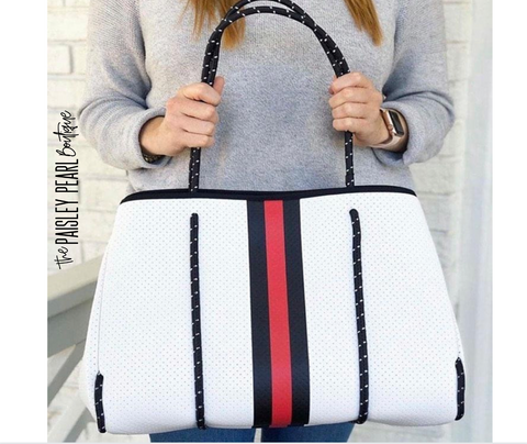 Neoprene Tote + Wristlet: White/Red