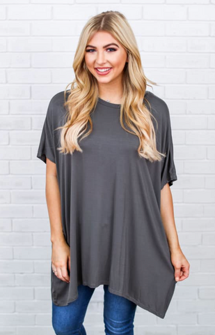 Ezra Tunic Top-Smoked Grey