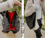 Neoprene Tote + Wristlet: Black/Red