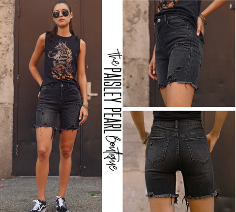 Lucas Black Denim Shorts-PREORDER
