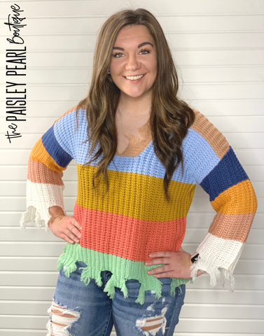 Abbey Colorblock Fringe Sweater
