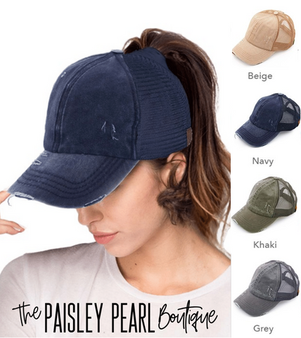 CC Mesh Ponytail Cap-Solid Colors