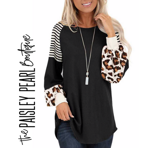 Forever Yours Leopard/Stripe Top