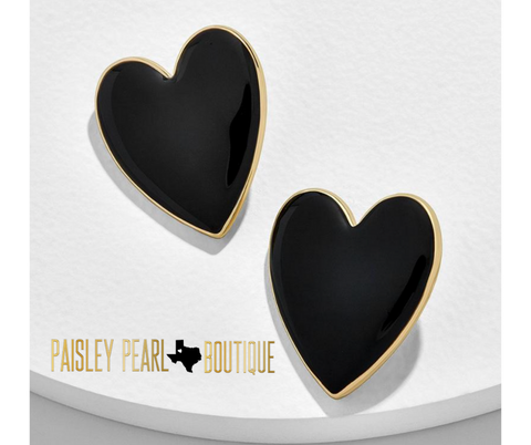 Full Heart Earrings-Black