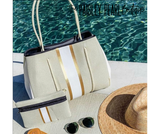 Neoprene Tote + Wristlet: Cream/Gold
