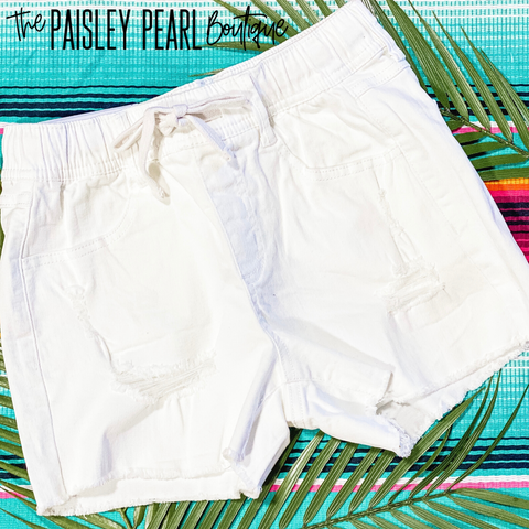 Summertime Fun Shorts-WHITE