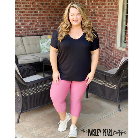 Power Mesh Tummy Control Capri Leggings- PINK