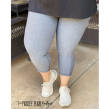Power Mesh Tummy Control Capri Leggings- CHARCOAL