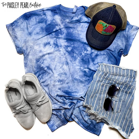 Hand Dyed Tie-Dye Tee-BLUE