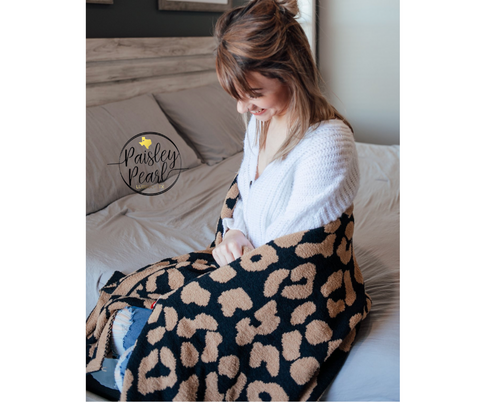 The Luxe Blanket-Tan/Black Leopard (PREORDER)