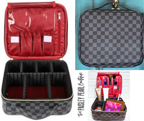 All I Need Makeup Bag-BLACK CHECK