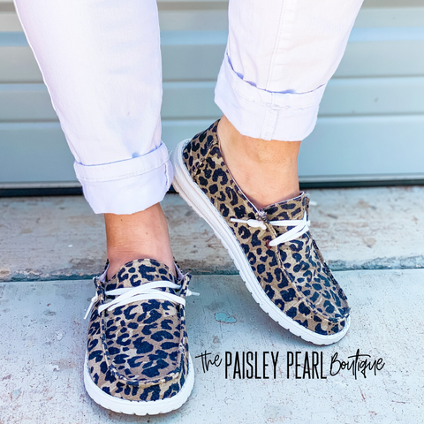 Holly Canvas Boat Shoes-Leopard