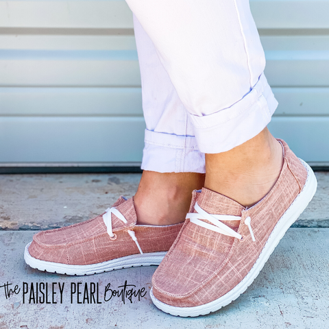 Holly Canvas Boat Shoes-Blush