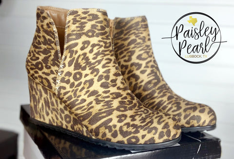 Here She Comes Leopard Wedges