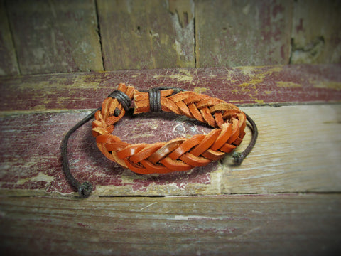 Geniune Brown Leather Braided Adjustable Diffuser Bracelet