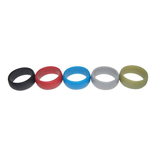 Silicone Wedding Ring 5 Pack by Country Bound, Premium Quality Wedding-Bands for Active Men, Sports, Gym and Work Comfortable Fit & Skin Safe, Antibacterial.