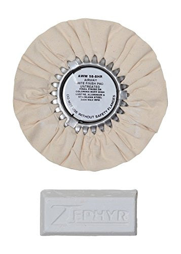"Zephyr 8"" White Airway Buffing Wheel w/ 1 LB White Bar Final Finish"