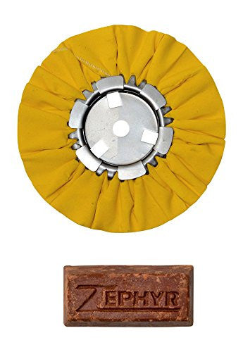"Zephyr 8"" Yellow Airway Buffing Wheel w/ 1 LB Tripoli Bar Heavy/Meduim Cut"