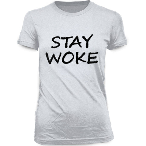 STAY WOKE - WOMEN'S BLACK EMPOWERMENT TEE