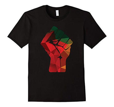 CLENCHED FIST RAISED IN PROTEST - BLACK EMPOWERMENT T-SHIRT - PAN AFRICAN COLORS