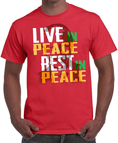 NELSON MANDELA T-SHIRT - LIVE IN PEACE, REST IN PEACE - BLACK HISTORY TEE