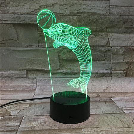 Animal Dolphin 3D Lamp RGB LED USB Mood Night Light Multicolor Switch Touch Remote Luminaria Children Bedroom kids Gift 49