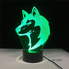 3D Animal Wolfs Head Table Lamp LED USB Creative Baby Sleep Night Light Bedside Light Fixture Bedroom Decor Kids Gifts AW-2803