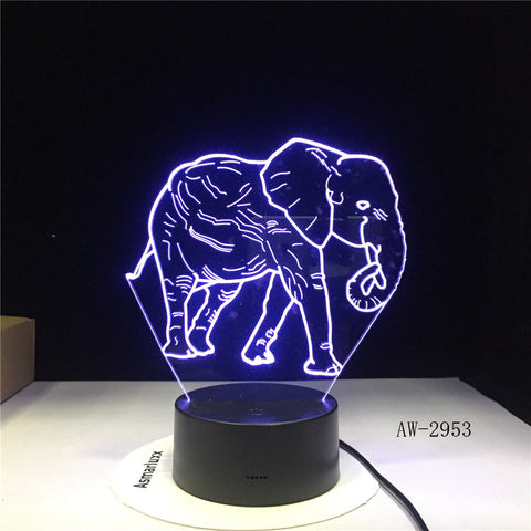 3D LED Night Light Dance Elephant with 7 Colors Light for Home Decoration Lamp Amazing Visualization Optical Illusion AW-2953