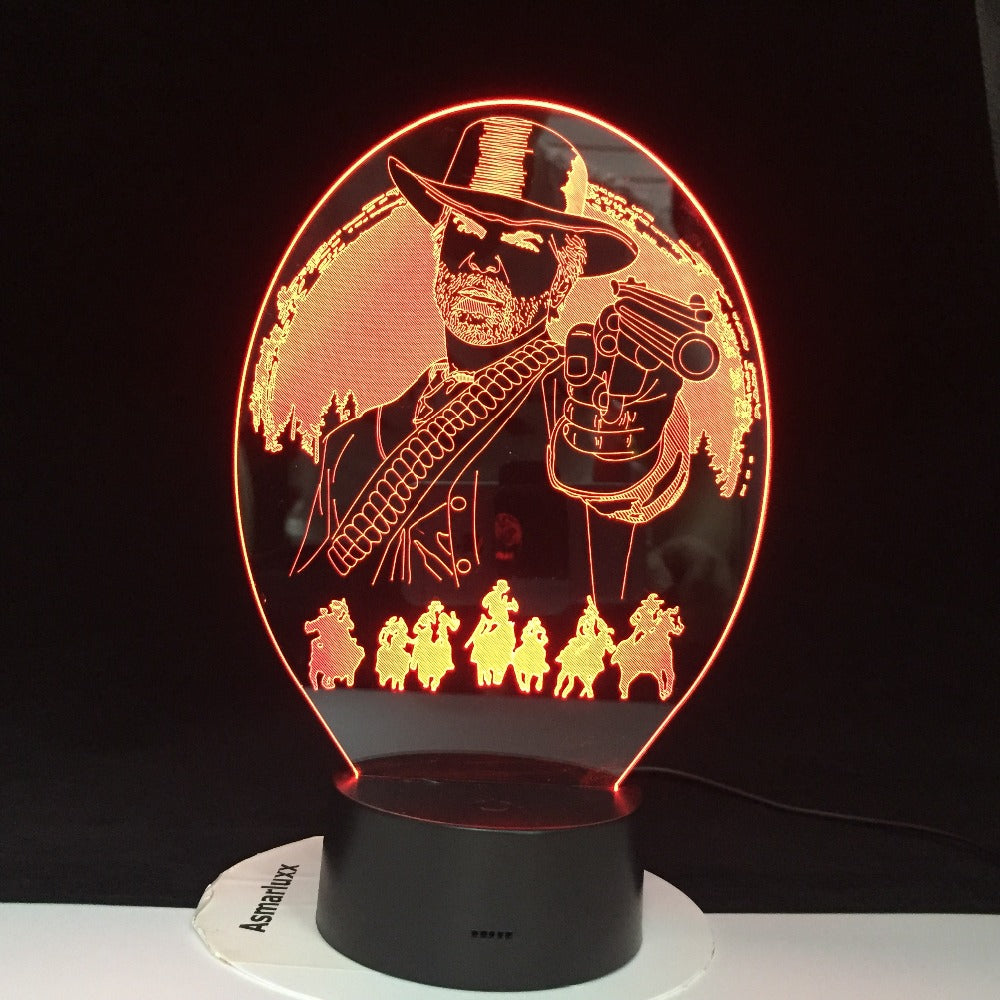 Arthur Morgan Red Dead Redemption Bedroom Decor Game USB Night Light lamparas For Christmas Gift Home Decor 3D Led Lamp Dropship