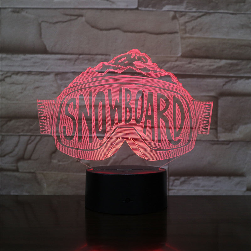 3D-2530 Snowboard Glass Shape LED Acrylic Night Light with 7 Colors Touch Remote Control Illusion Change Gift for Lovers