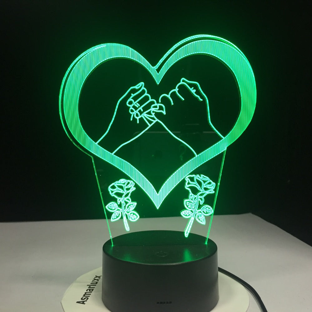 Hand In Hand Pinky Swear Promise Love Heart 3D LED Lamp 7 Color Changed Night lights Kids table lamp Christmas present Love Gift