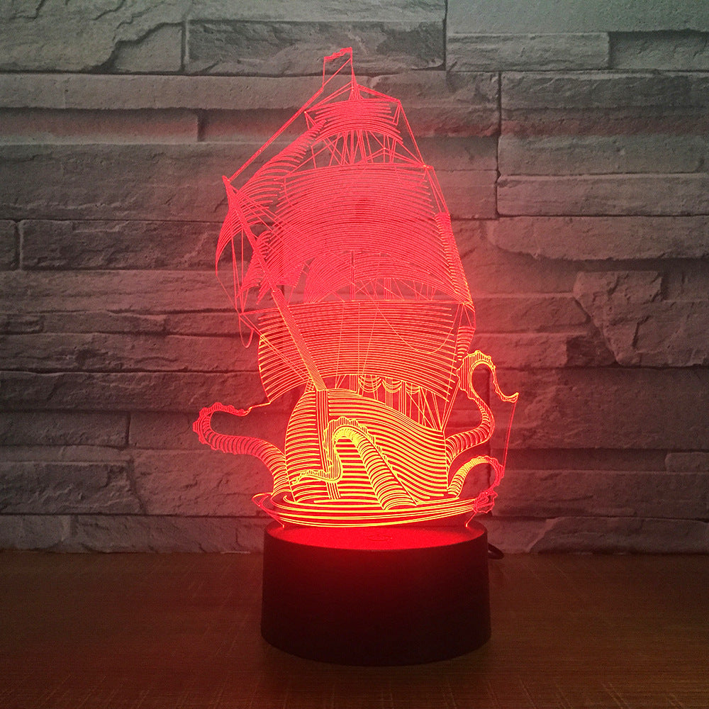 Dragon Boat Ship Design Shape 3d lamp Table Lamp Acrylic Creative Decorations Bedroom Sleeping Nightlight Gift Dropshipping