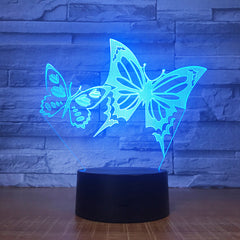 Butterfly Wings 3D LED Night Light Acrylic Panel Stereo Illusion Table Desk Lamp Multi-colored Bulbing Light with Touch Remote