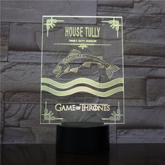 Game of Thrones 3D LED Light House Tully A Song of Ice and Fire 7 Color Morden Desk Lamp Home Decor Holiday Movie Fans Gift